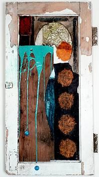 Orange Circles On Slate by Jane Clatworthy