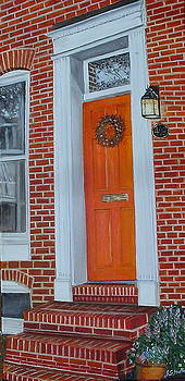 Orange Door Fells Point by John Schuller