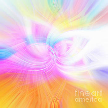 Orange Faded Rainbow Abstract by Phill Petrovic