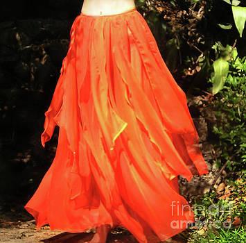 Sofia Metal Queen - Orange fire color skirt. Ameynra design