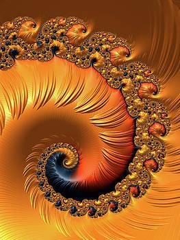 Orange Fractal Spiral warm tones by Matthias Hauser