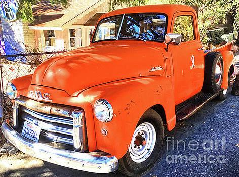 Orange GMC Pickup Truck in Idyllwild by John Castell