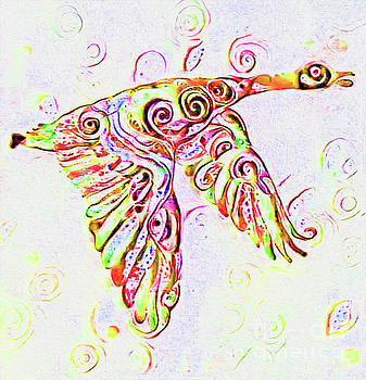 Orange Goose Print by Nina Silver