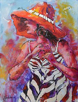 Woman with Orange Hat by Jyotika Shroff