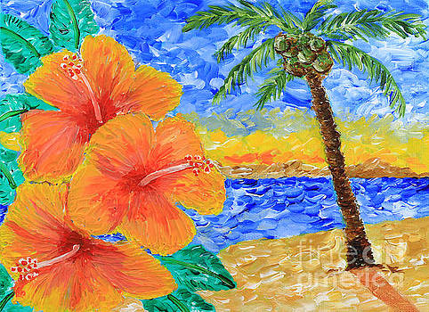 Beverly Claire Kaiya - Orange Hibiscus Coconut Tree Sunrise Tropical Beach Painting