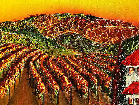 Orange Hills Of Tuscany 1 by Portland Art Creations