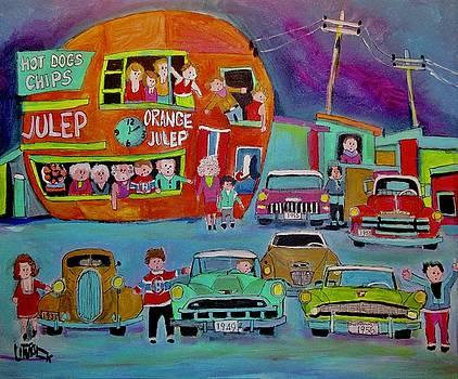 Orange Julep Studebakers in Montreal by Michael Litvack