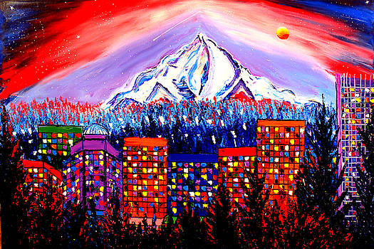 Orange Moon Over Mount Hood #1 by Portland Art Creations