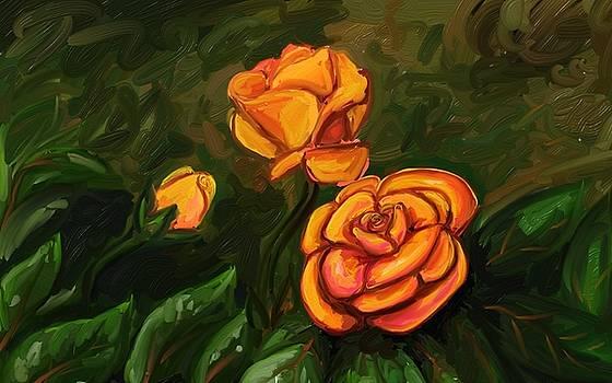 Orange Roses by Hannah Starrett Wright