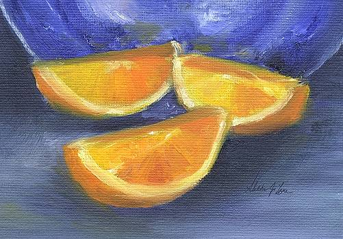 Orange Slices with Blue Plate by Aletha Jo Lane
