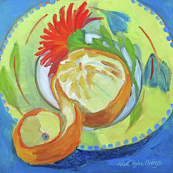 Orange Spiral with Red Daisy by Rhett Regina Owings