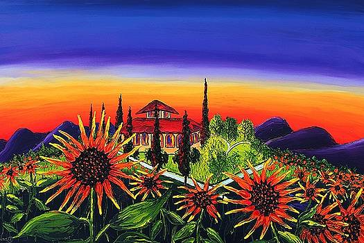 Orange Sunflowers Of Tuscany by Portland Art Creations