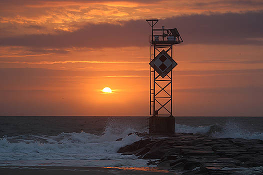 Orange Sunrise At The Jetty by Robert Banach