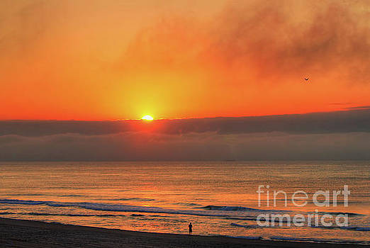 Orange Sunrise On Long Beach Island by Jeff Breiman