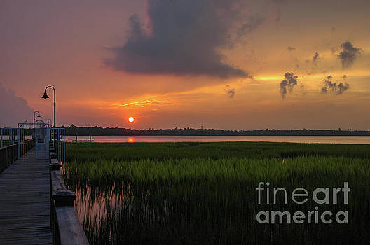 Dale Powell - Orange Sunset Glow over the Wando River