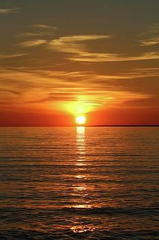 Orange Sunset Lake Superior by Paula Brown