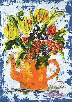 Orange Teapot of Flowers by Lynda Cookson