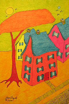 Orange Umbrella Tree And Three Homes by Lew Hagood