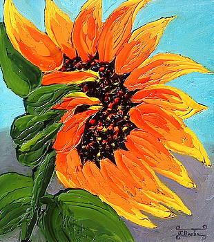 Orange Yellow Sunflower  by Portland Art Creations