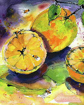 Ginette Callaway - Oranges Fruit Watercolor Painting