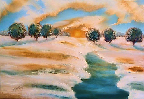 Oranges in the snow-Landscape Painting by V.Kelly by Valerie Anne Kelly