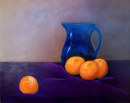 Oranges with Blue Pitcher.......sold by Susan Dehlinger