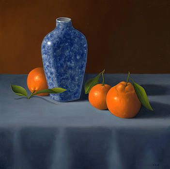 Oranges with Blue Vase by Christa Eppinghaus