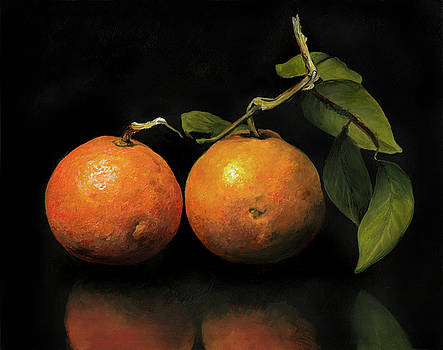 Oranges with Leaves by Anthony Enyedy