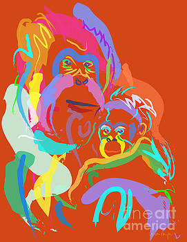 Orangutan mom and baby by Go Van Kampen