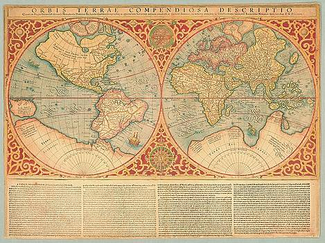 Orbis terrae compendiosa descriptio, map of world ca 1637 by Vintage Printery