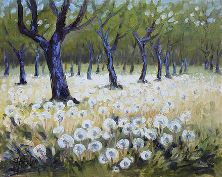 Orchard with dandelions by Irek Szelag