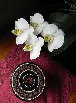 Orchid and Burmese Bowl by Steve Rudolph
