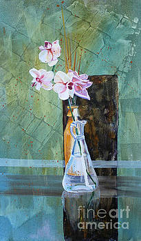 Orchids and a Rose by Janet Felts