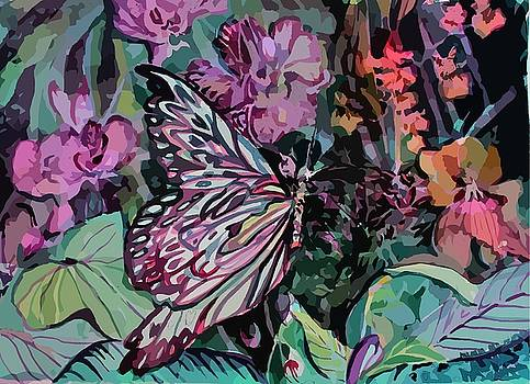 Orchids and Butterfly by Mindy Newman