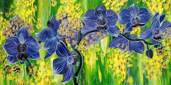 Orchids In A Gold Rain by Inga Vereshchagina