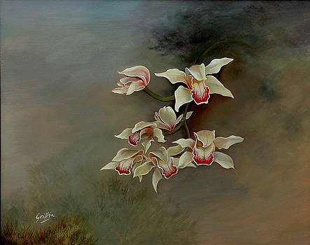 Orchids in Morning Mist by Mai Griffin