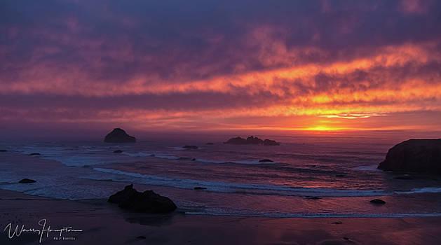 Oregon Coast Sunset - 7183,S by Wally Hampton
