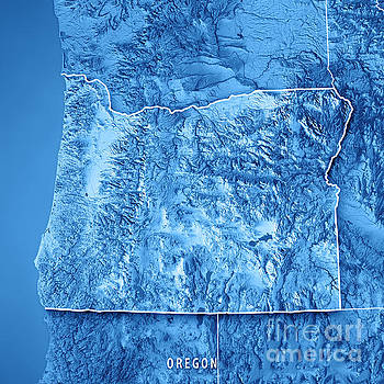Oregon State Usa 3d Render Topographic Map Blue Border By Frank Ramspott