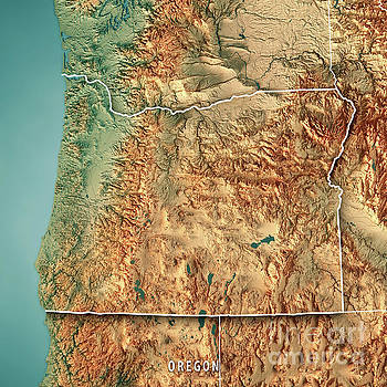 Oregon State Usa 3d Render Topographic Map Border By Frank Ramspott