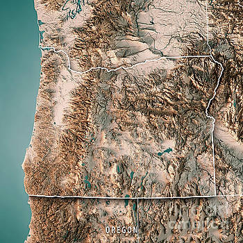 Oregon State Usa 3d Render Topographic Map Neutral Border By Frank Ramspott