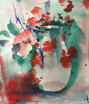 Oriental Brush Flowers and Vase by Robin Miller-Bookhout