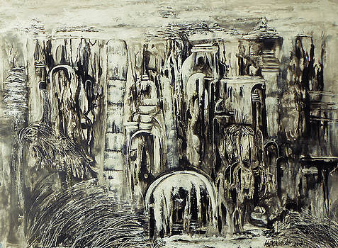 Original abstract city wallpaper unique abstract black and white painting paper art in acrylik City  by Natalya Zhdanova