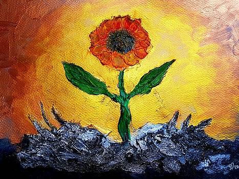 Original Acrylic Flower Painting by Ed Berlyn