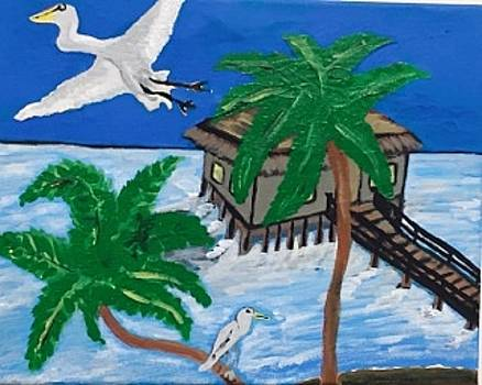 Original acrylic painting on canvas. Cabana hutt over the water. by Jonathon Hansen