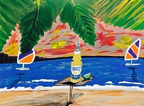 Original acrylic painting on canvas. Corona Extra beer commercial by Jonathon Hansen