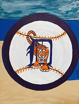 Original acrylic painting on canvas. Detroit Tigers by Jonathon Hansen