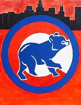 Original acrylic painting on canvas wall art. Chicago Cubs  by Jonathon Hansen
