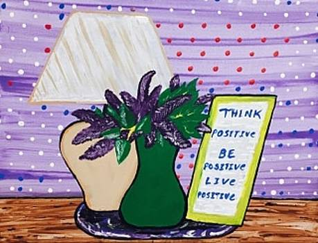 Original acrylic painting on canvas wall art. Live positive. by Jonathon Hansen