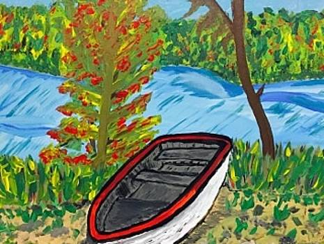 Original acrylic painting on canvas wall art. Menominee river. by Jonathon Hansen