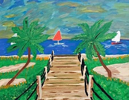 Original acrylic painting on canvas wall art. Miami Florida boardwalk by Jonathon Hansen